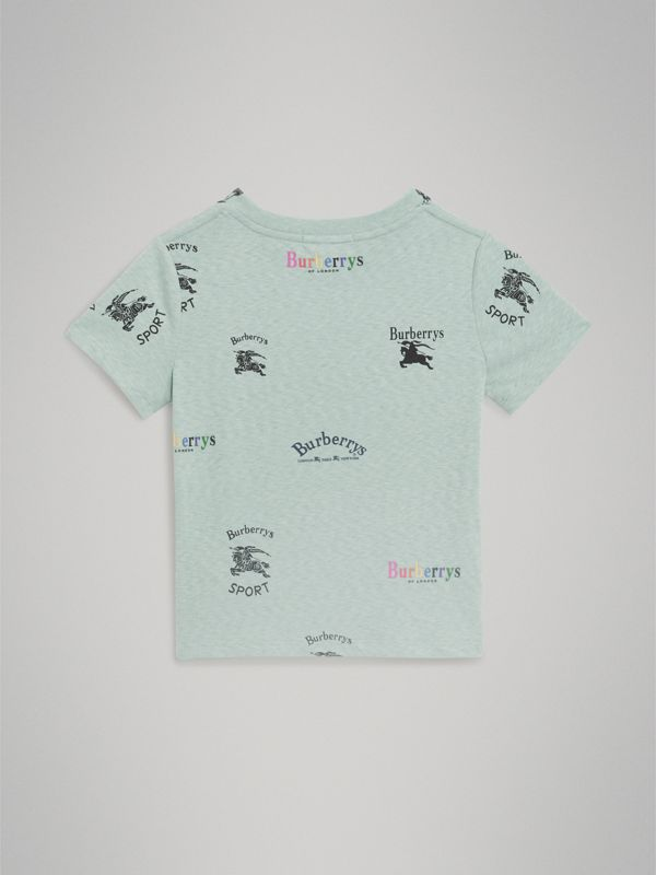 Archive Logo Print Jersey T-shirt in Mint - Children | Burberry - cell image 3