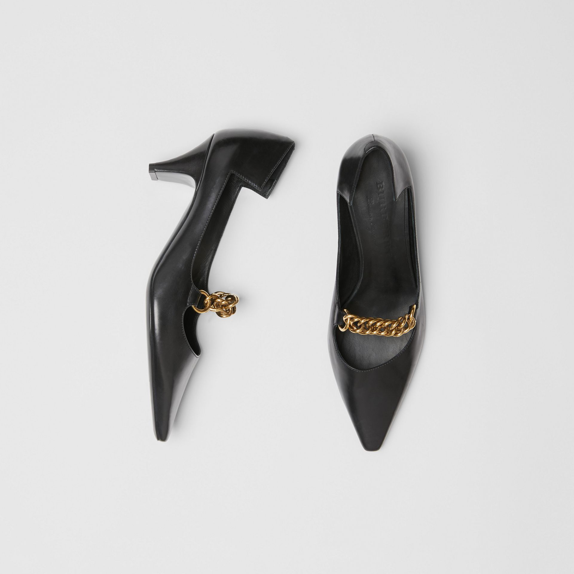 Link Detail Leather Pumps in Black - Women | Burberry - gallery image 0