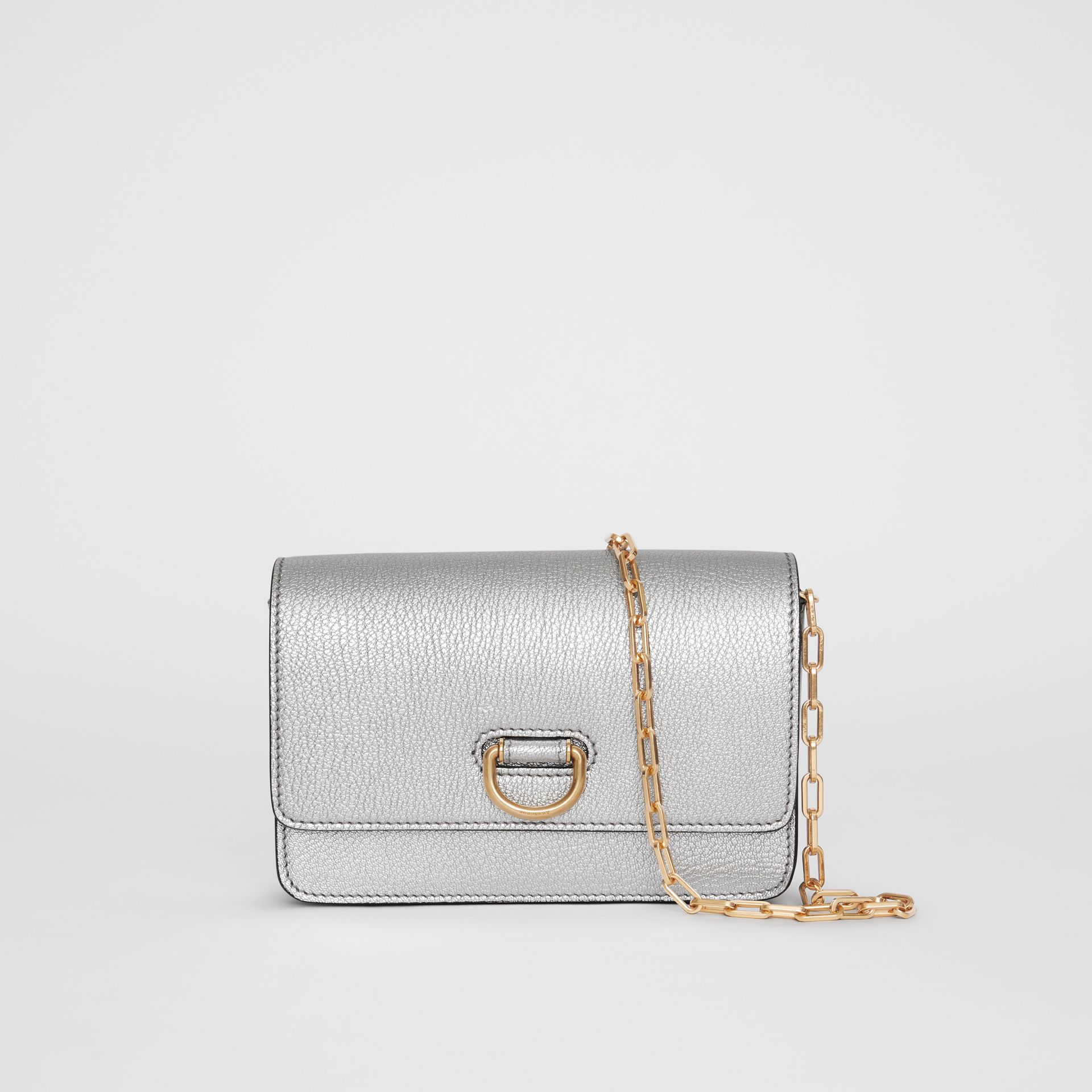 The Mini Leather D-ring Bag in Silver - Women | Burberry Australia - gallery image 0