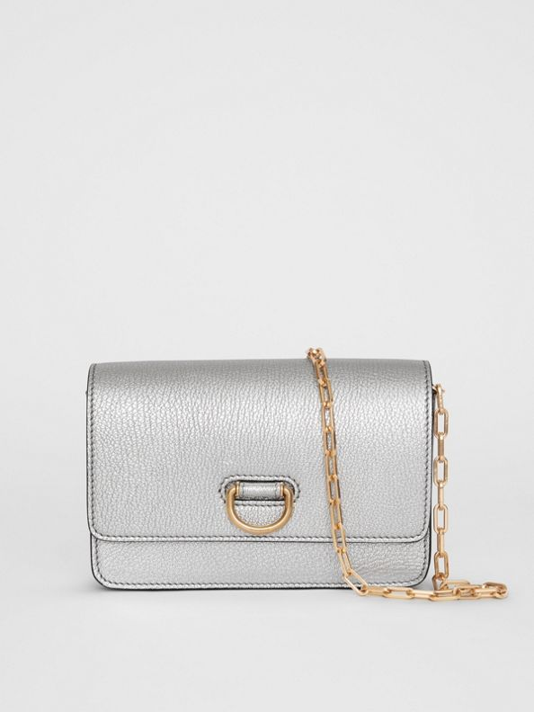 The Mini Leather D-ring Bag in Silver