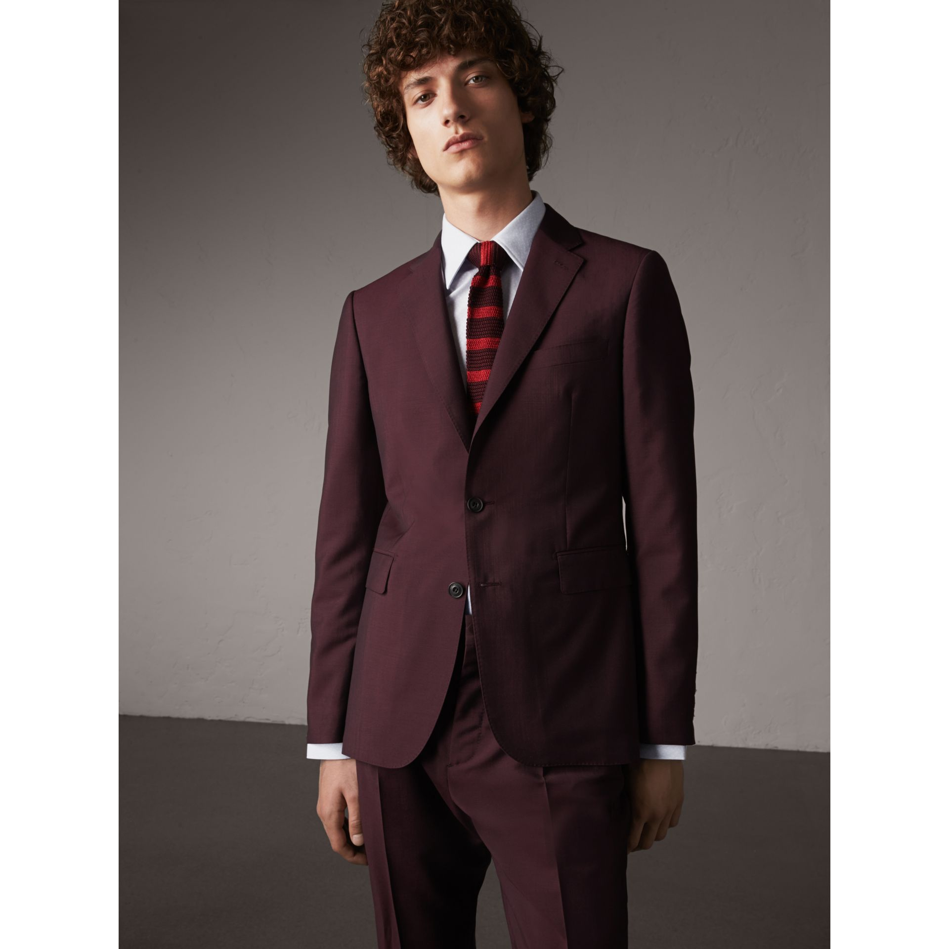 Soho Fit Wool Mohair Suit in Oxblood - Men | Burberry - gallery image 7