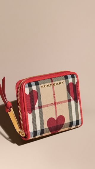 Heart Print Horseferry Check Small Ziparound Wallet