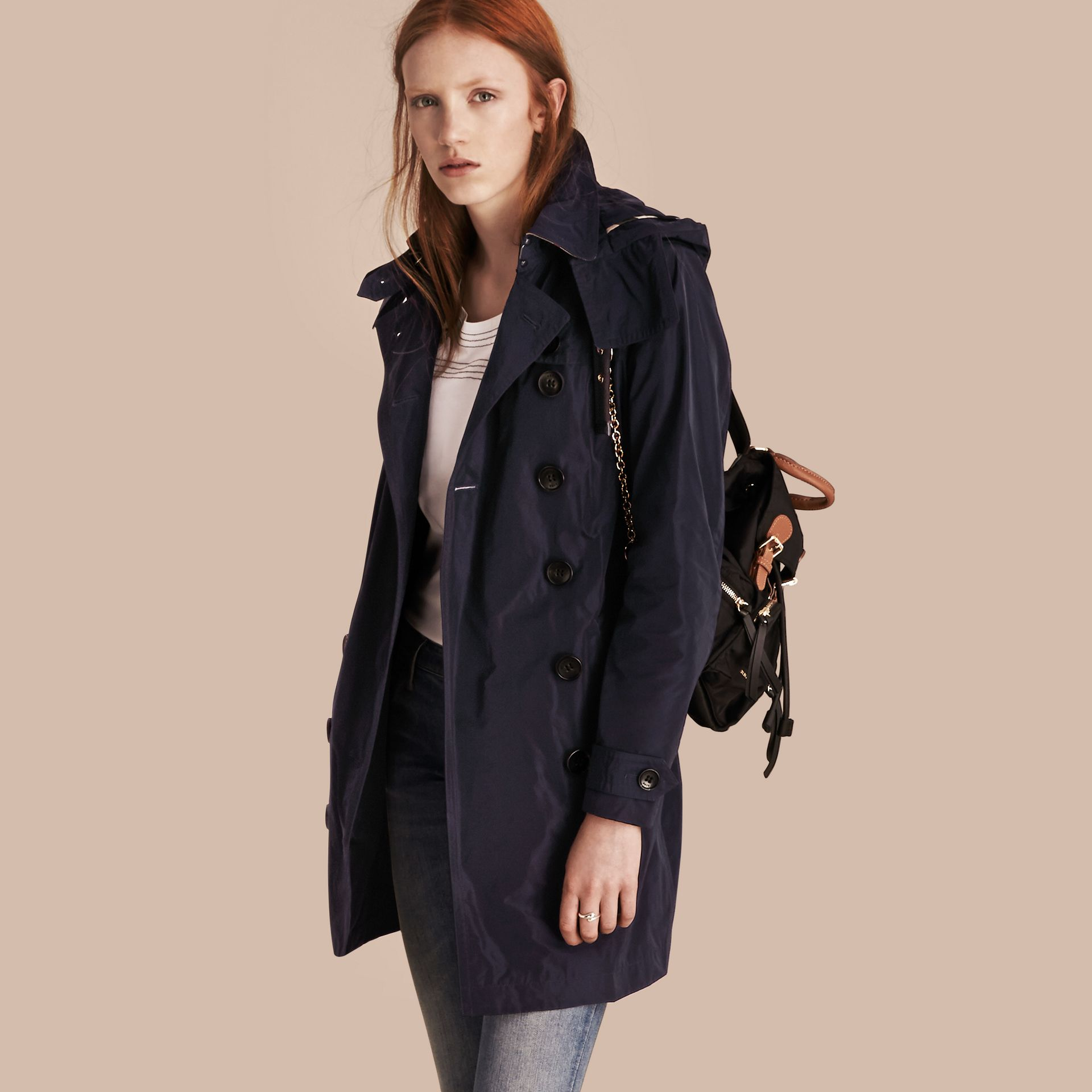Taffeta Trench Coat with Detachable Hood in Navy - gallery image 1