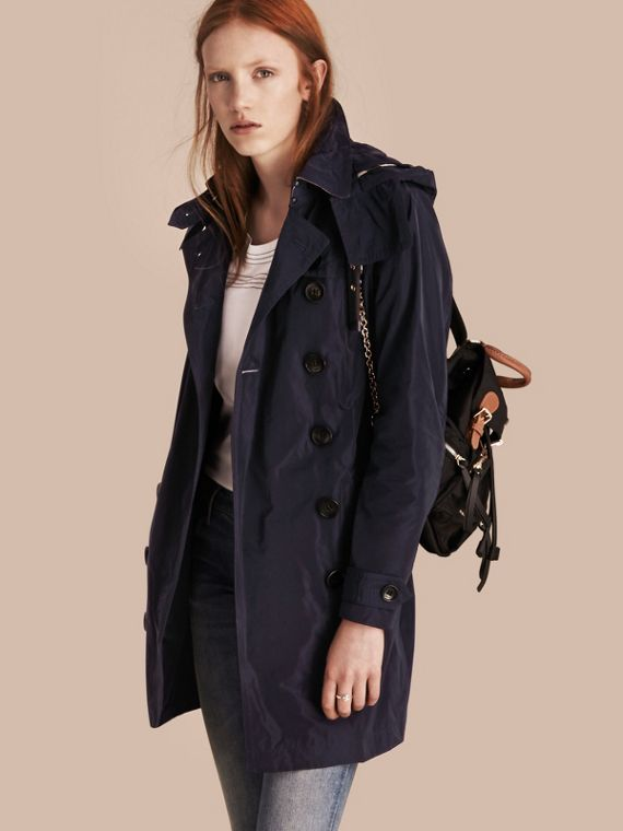 Taffeta Trench Coat with Detachable Hood Navy
