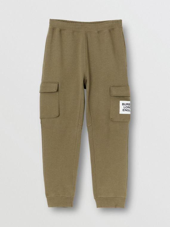 Logo Print Cotton Trackpants in Dark Moss