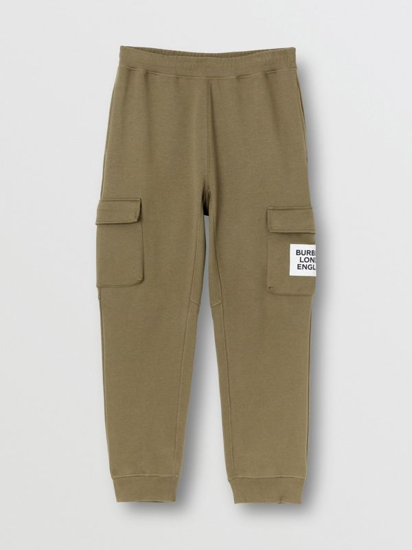 Logo Print Cotton Trackpants in Dark Moss - Men | Burberry - cell image 3