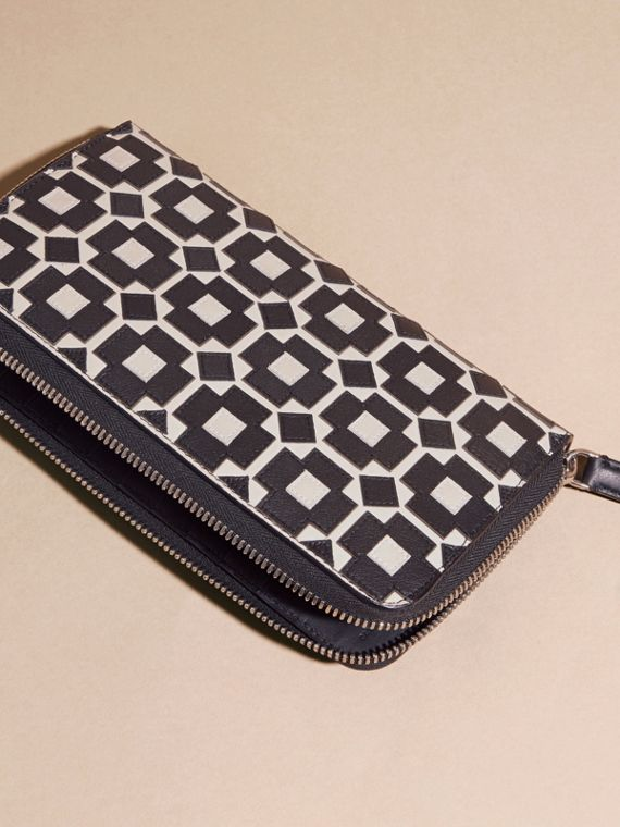Stone Geometric Appliqué Leather Ziparound Wallet - cell image 3
