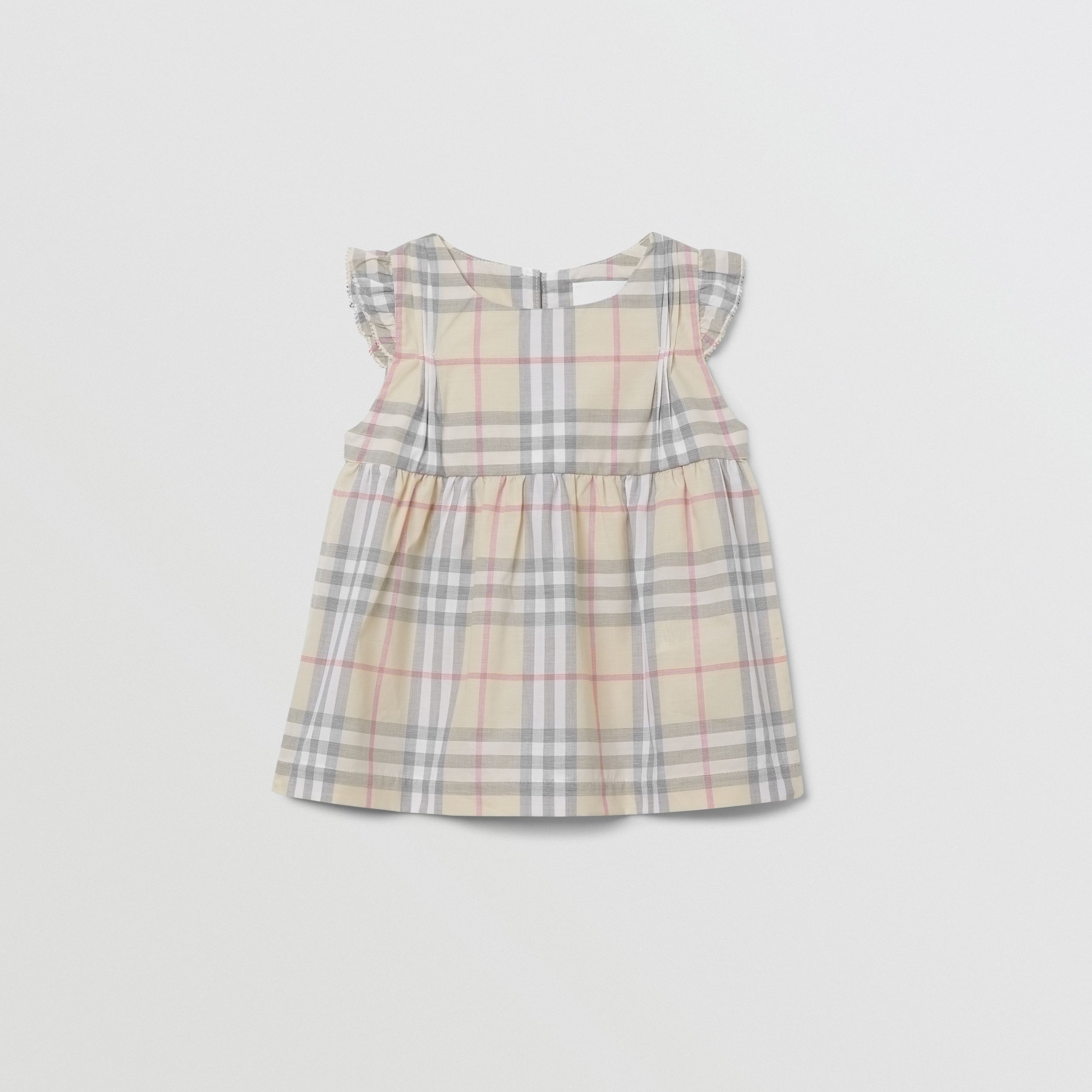 Ruffled Check Cotton Dress with Bloomers in Pale Stone - Children | Burberry - 1