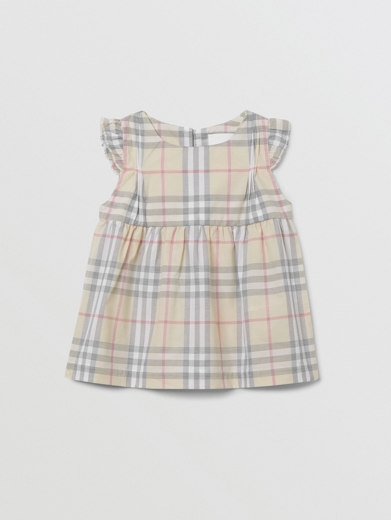 Ruffled Check Cotton Dress with Bloomers in Pale Stone