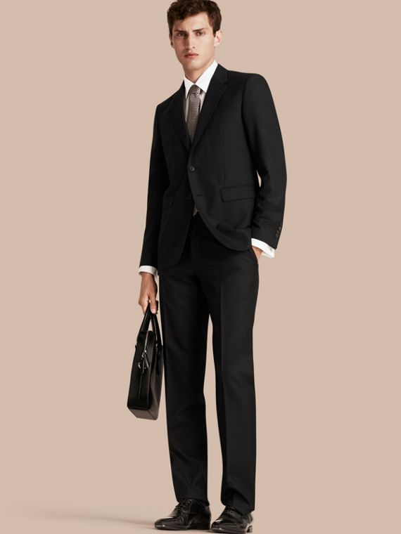 Classic Fit Wool Part-canvas Suit Black