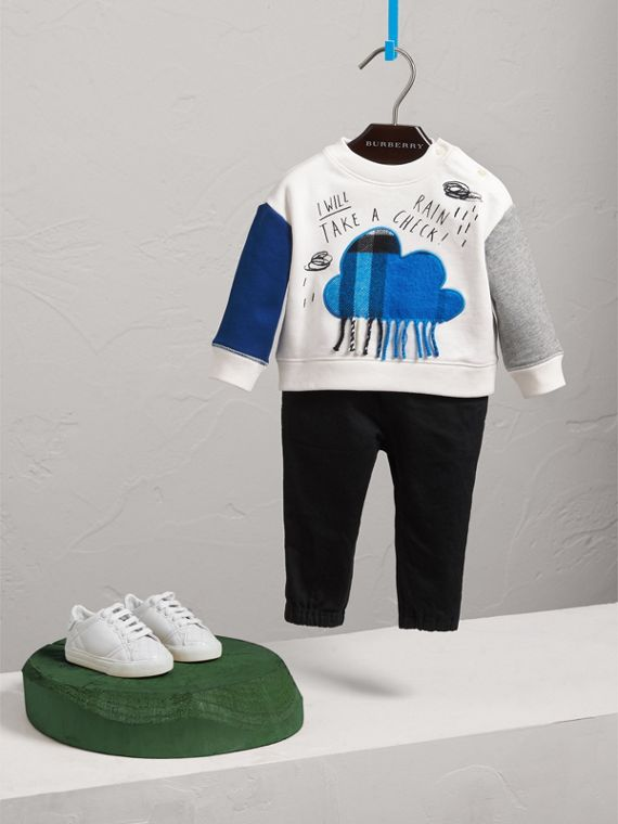 Weather Motif Cotton Sweatshirt in Bright Cornflower Bl