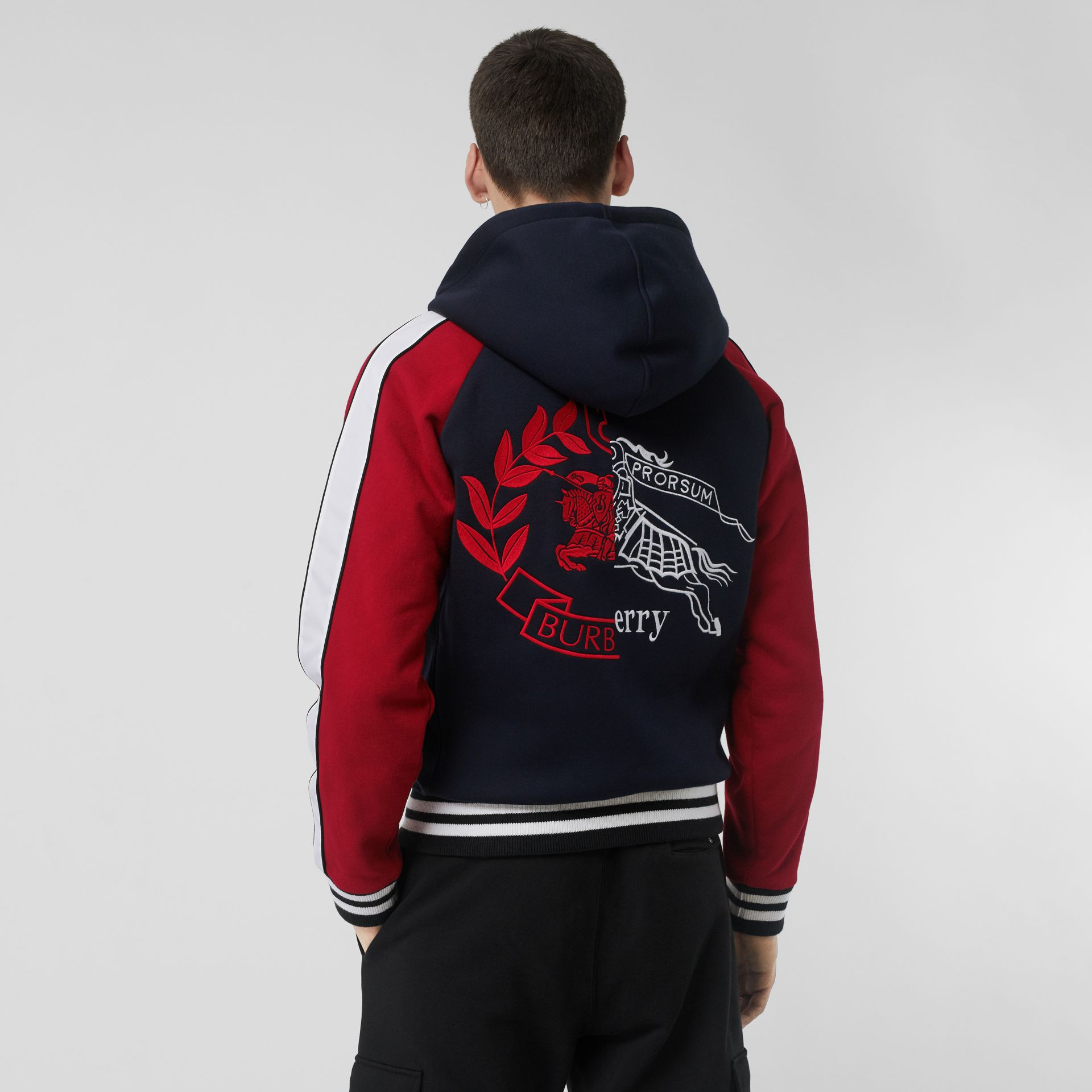 Contrast Crest Neoprene Hooded Top in Navy - Men | Burberry - gallery image 2
