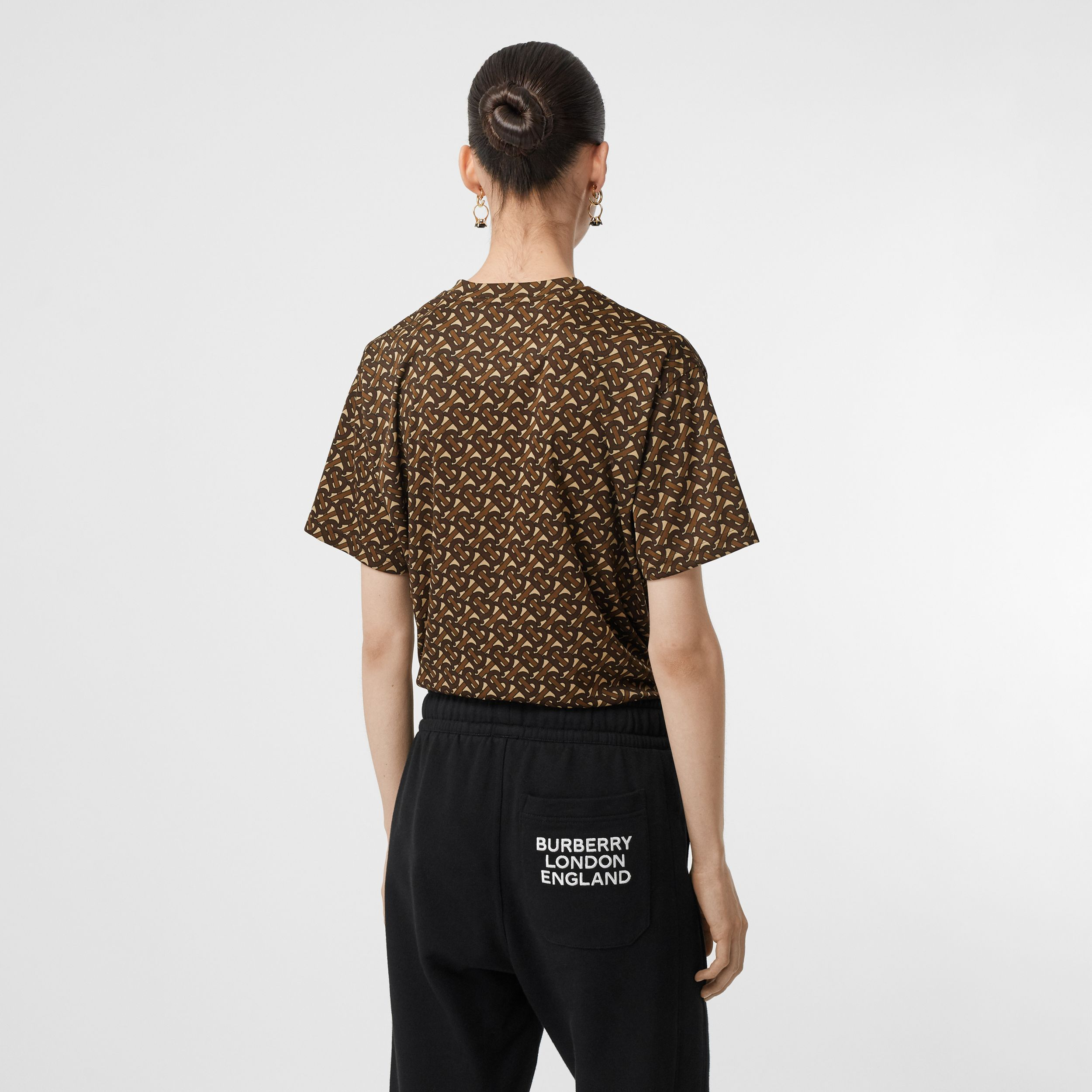 Monogram Print Jersey Oversized T-shirt in Bridle Brown - Women | Burberry United Kingdom - 3