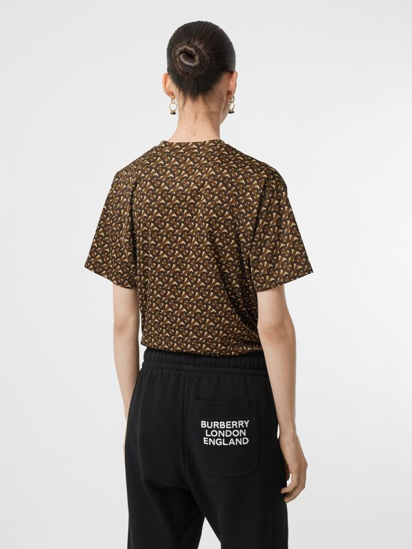 Monogram Print Jersey Oversized T-shirt in Bridle Brown - Women | Burberry - cell image 2