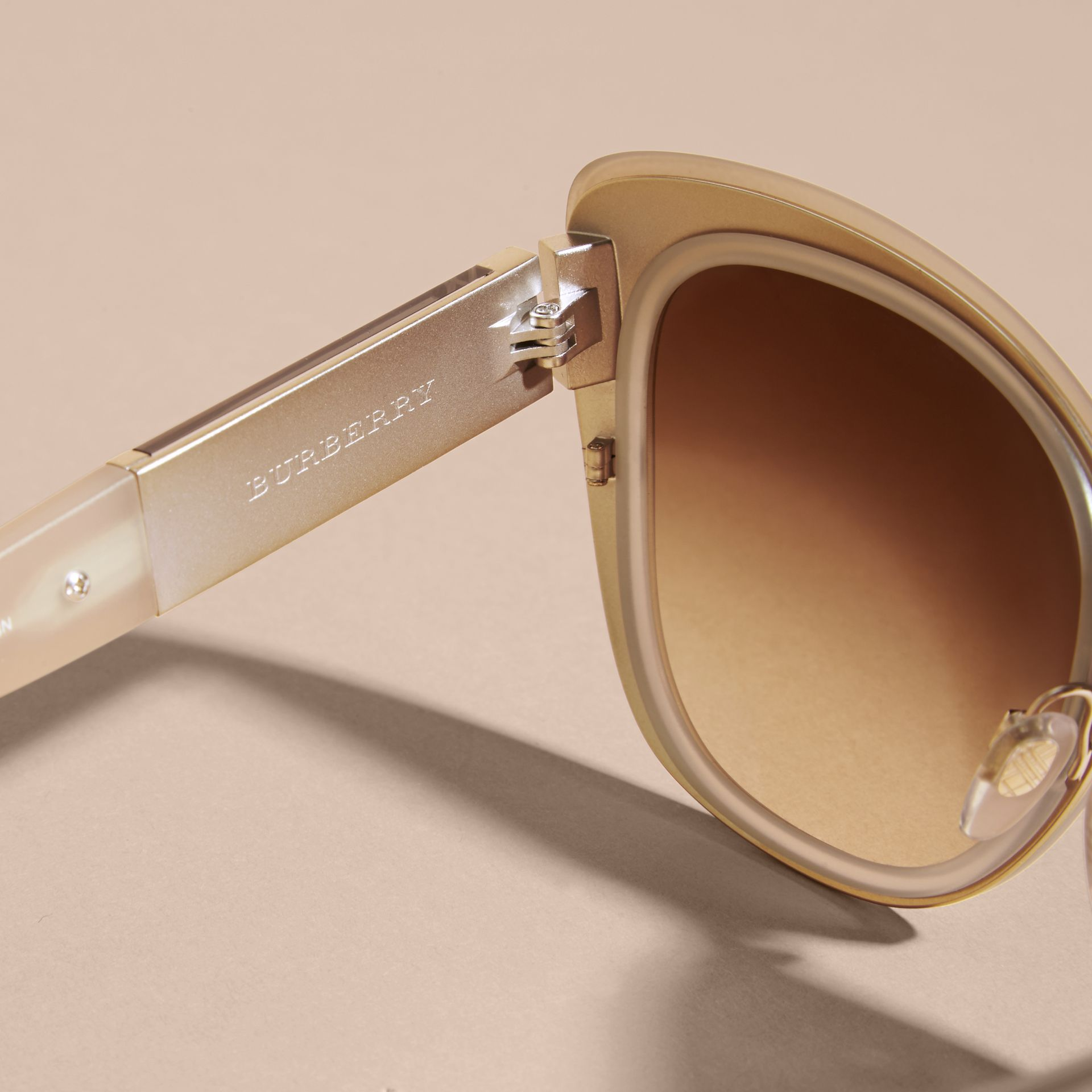 Check Detail Square Cat-eye Sunglasses in Chino Grey - gallery image 2
