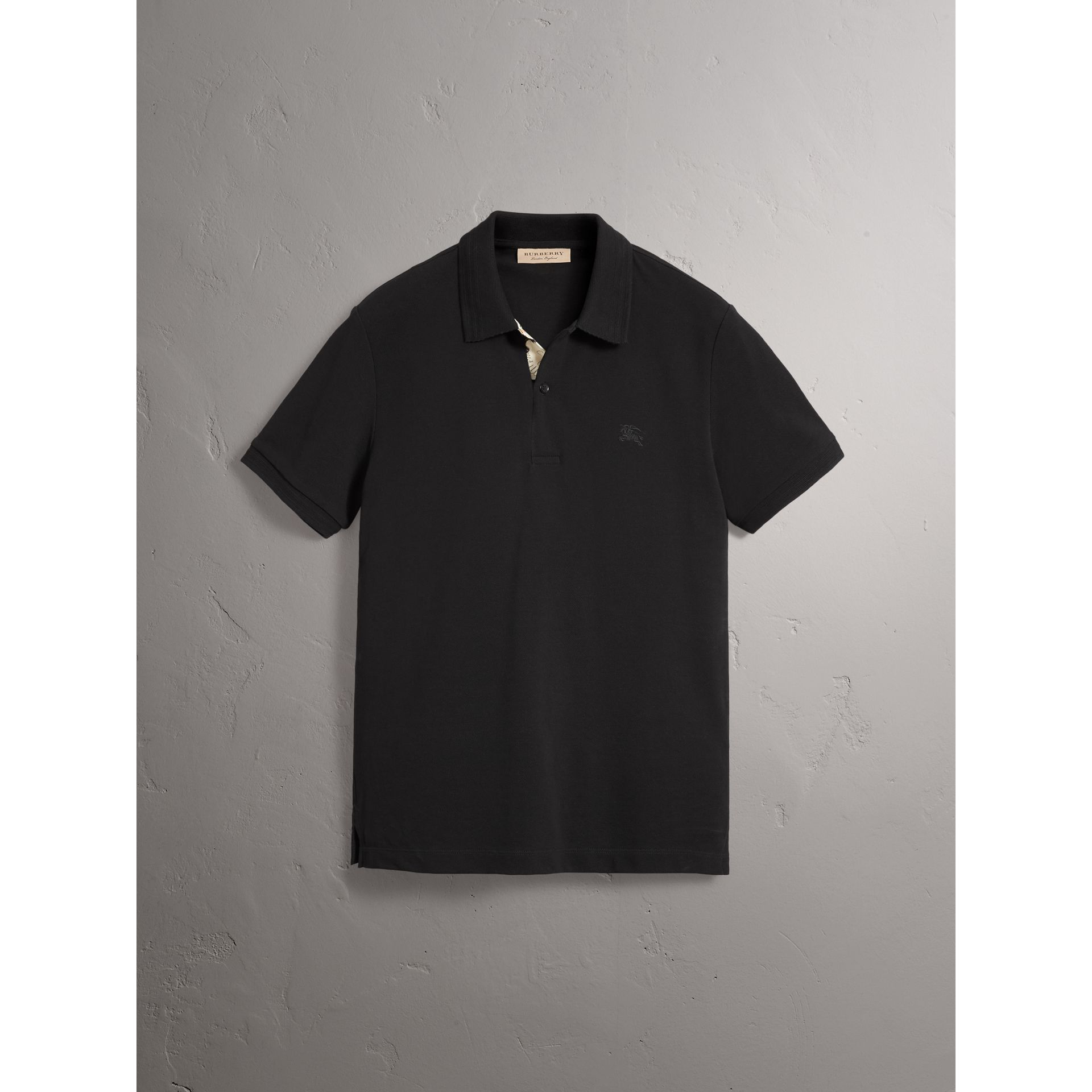 Daisy Print Trim Cotton Piqué Polo Shirt in Black - Men | Burberry - gallery image 3