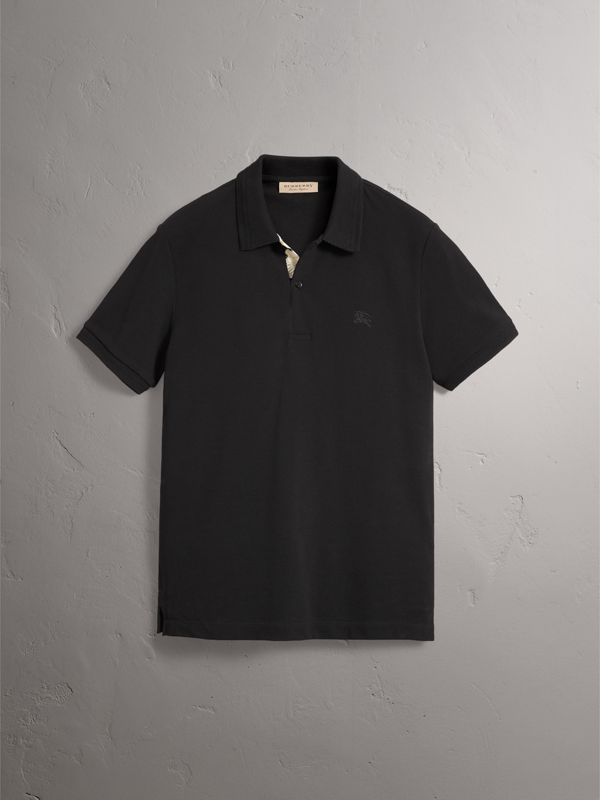 Daisy Print Trim Cotton Piqué Polo Shirt in Black - Men | Burberry United Kingdom - cell image 3