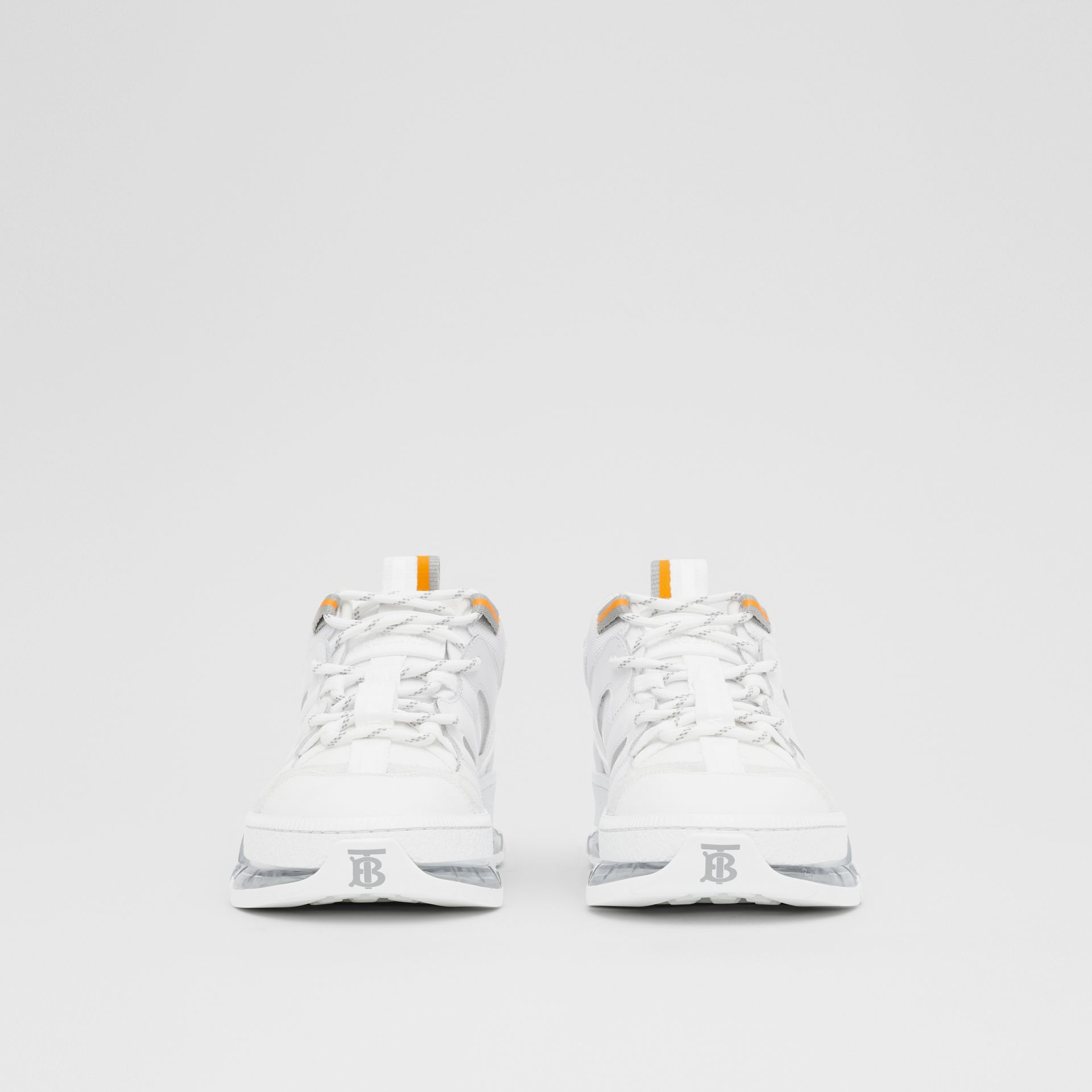 Nylon and Leather Union Sneakers in Optic White - Women | Burberry United Kingdom - gallery image 2