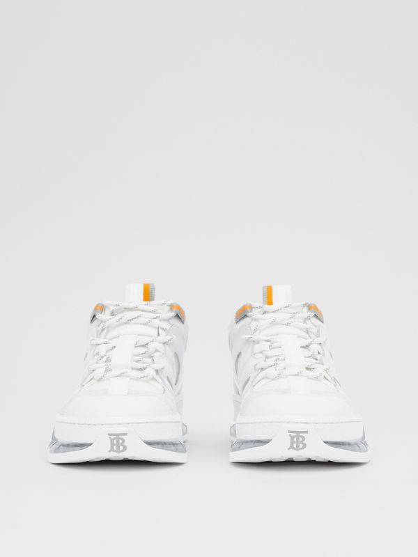 Nylon and Leather Union Sneakers in Optic White - Women | Burberry - cell image 3