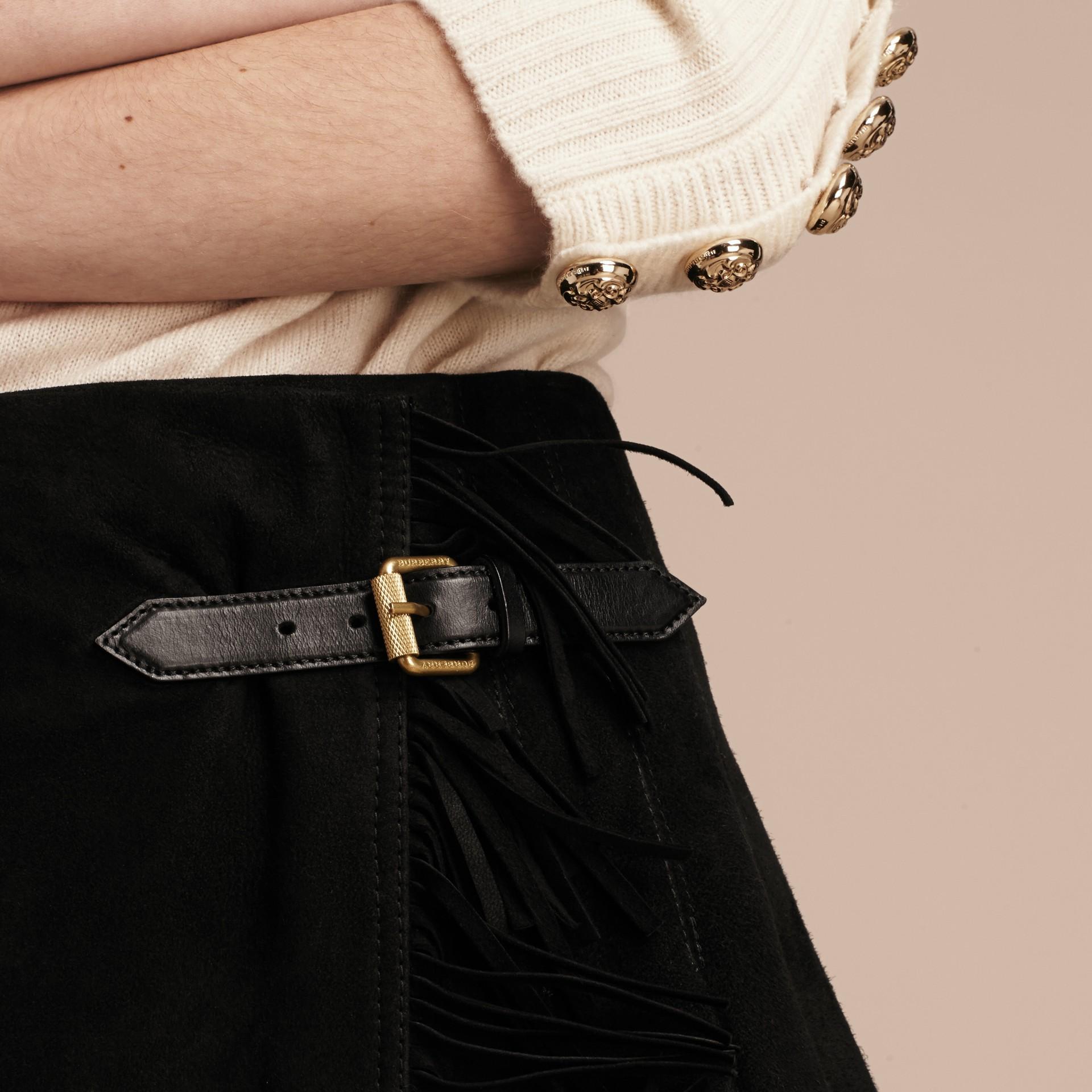 Nero Kilt in pelle scamosciata con frange - immagine della galleria 5