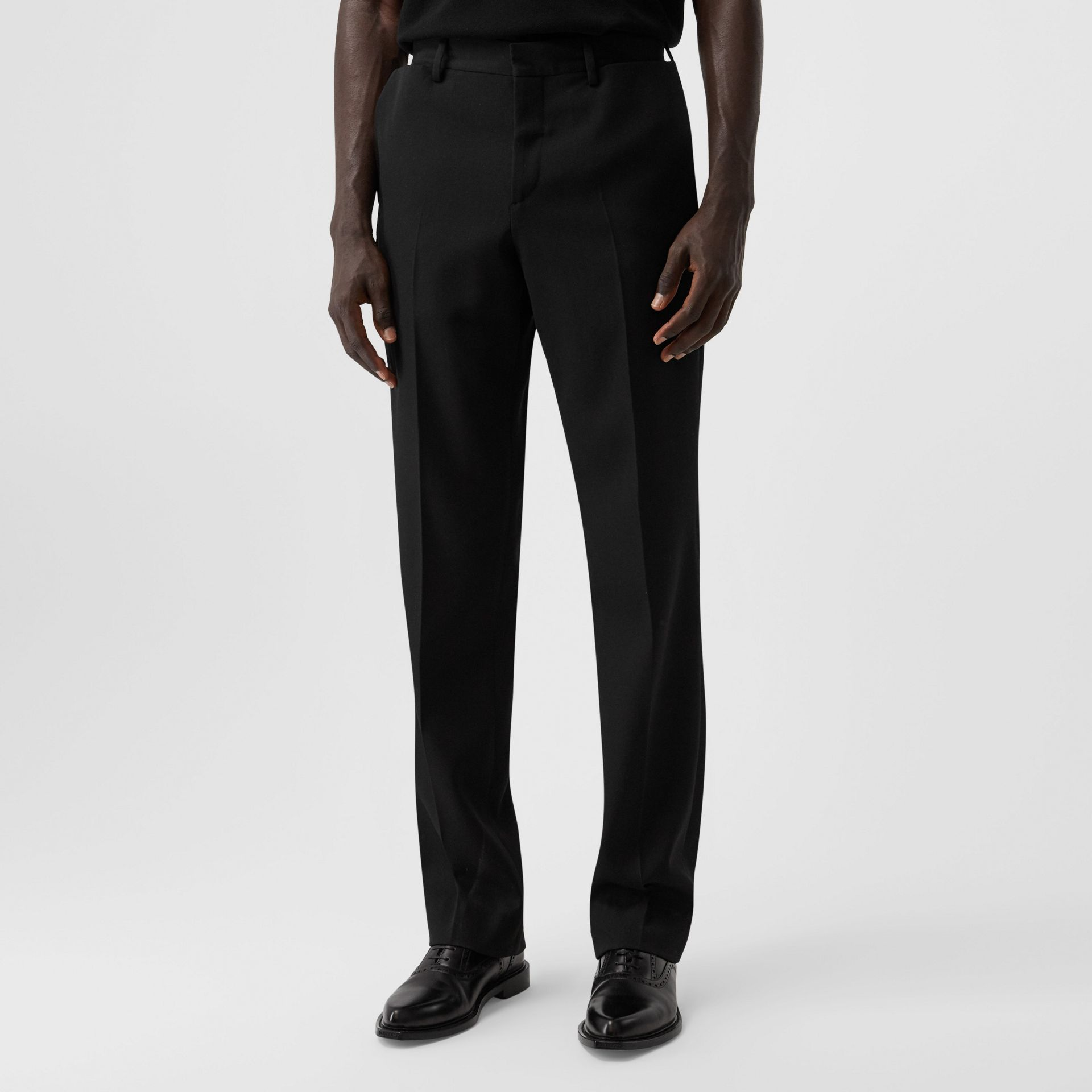 English Fit Pocket Detail Wool Tailored Trousers in Black | Burberry - gallery image 4