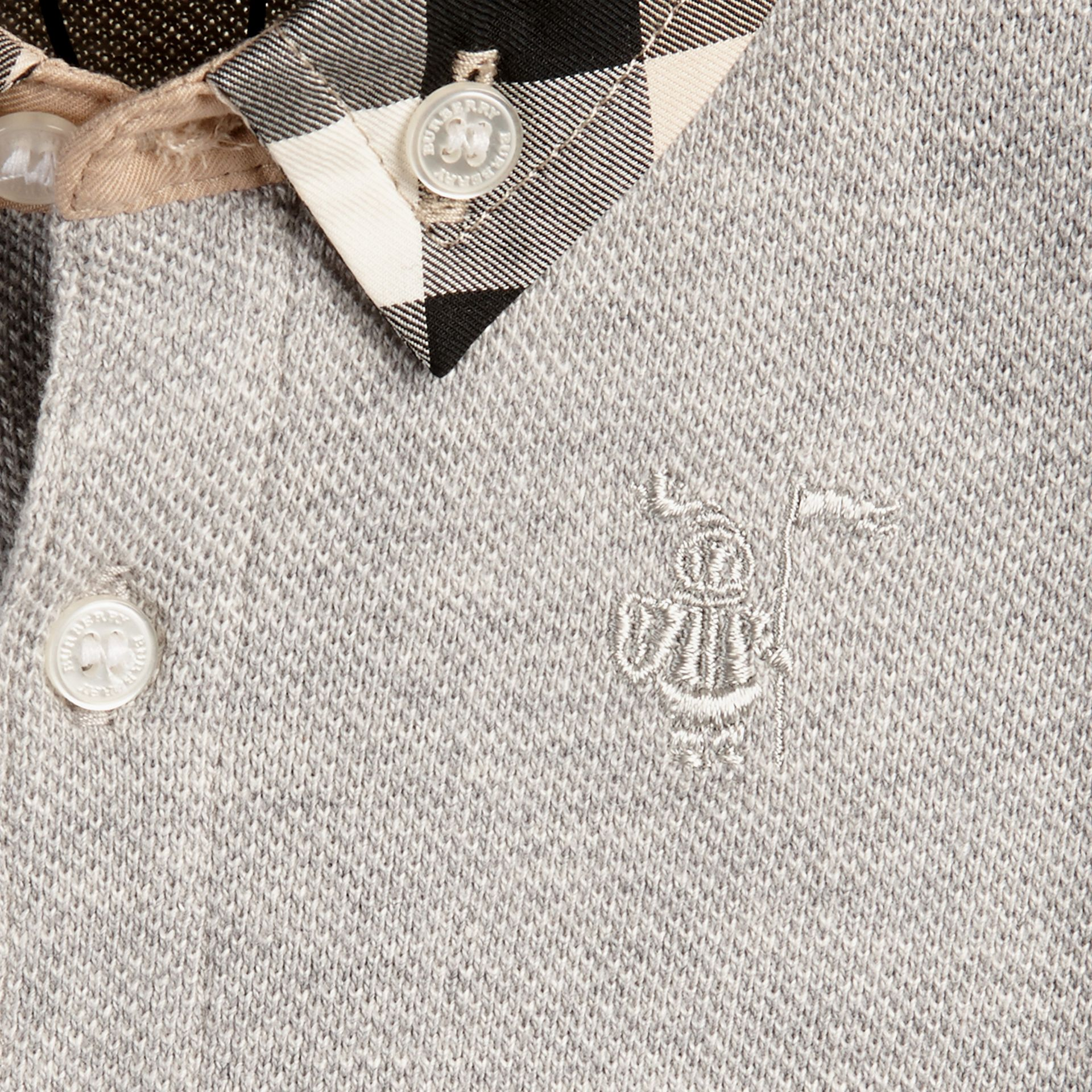 Pale grey melange Check Collar Polo Shirt Pale Grey Melange - gallery image 2