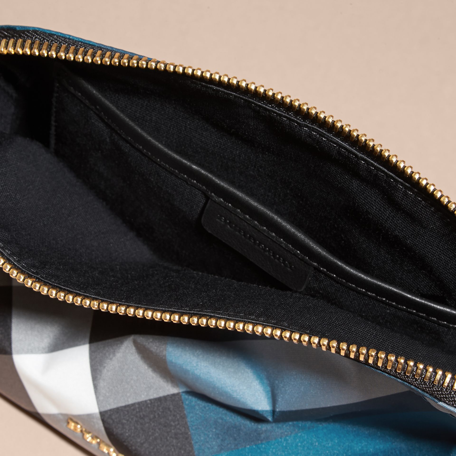 Large Zip-top Check Pouch in Marine Blue - Women | Burberry Australia - gallery image 5