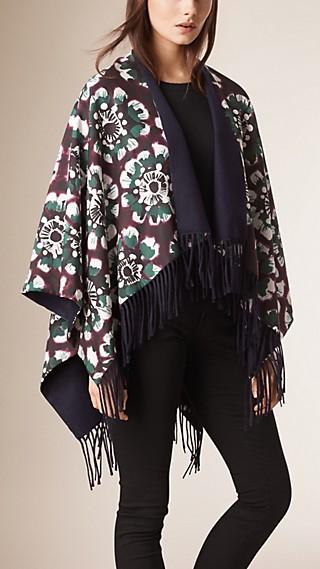 Poncho en algodón y seda con estampado floral desteñido