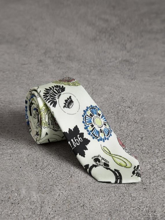 Slim Cut Emblem Print Silk Tie in Natural White