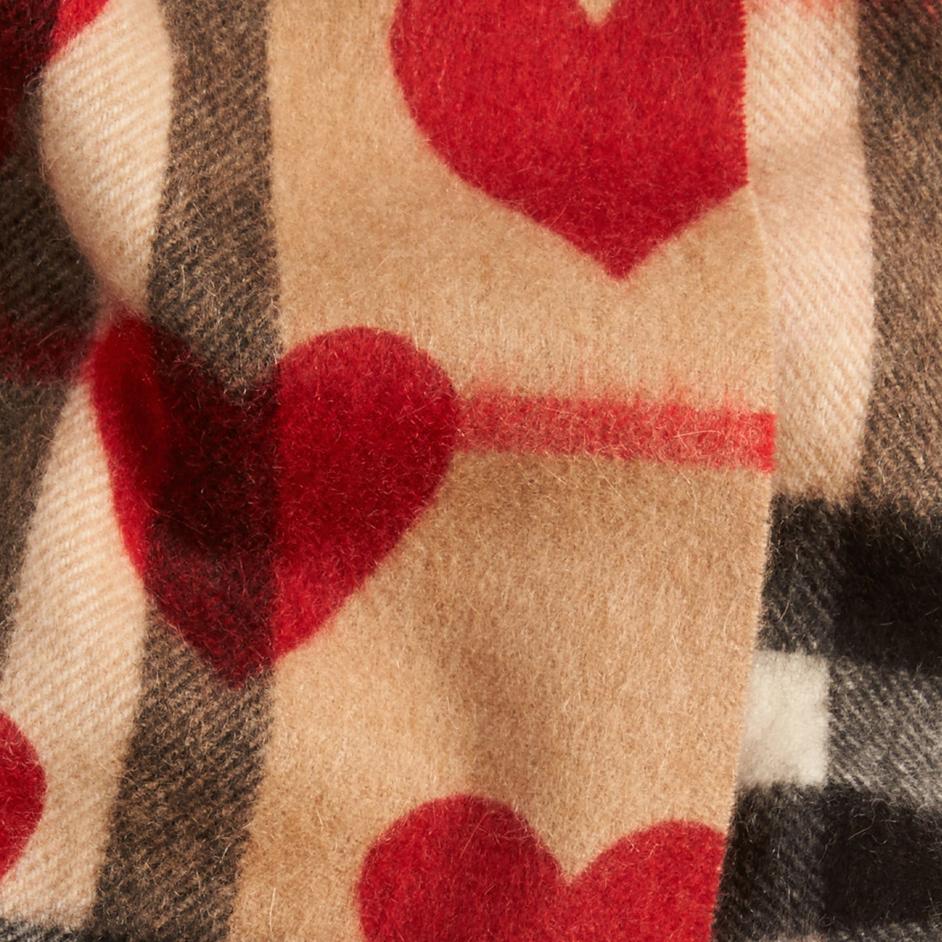 The Mini Classic Cashmere Scarf in Check and Hearts in Parade Red | Burberry - gallery image 4