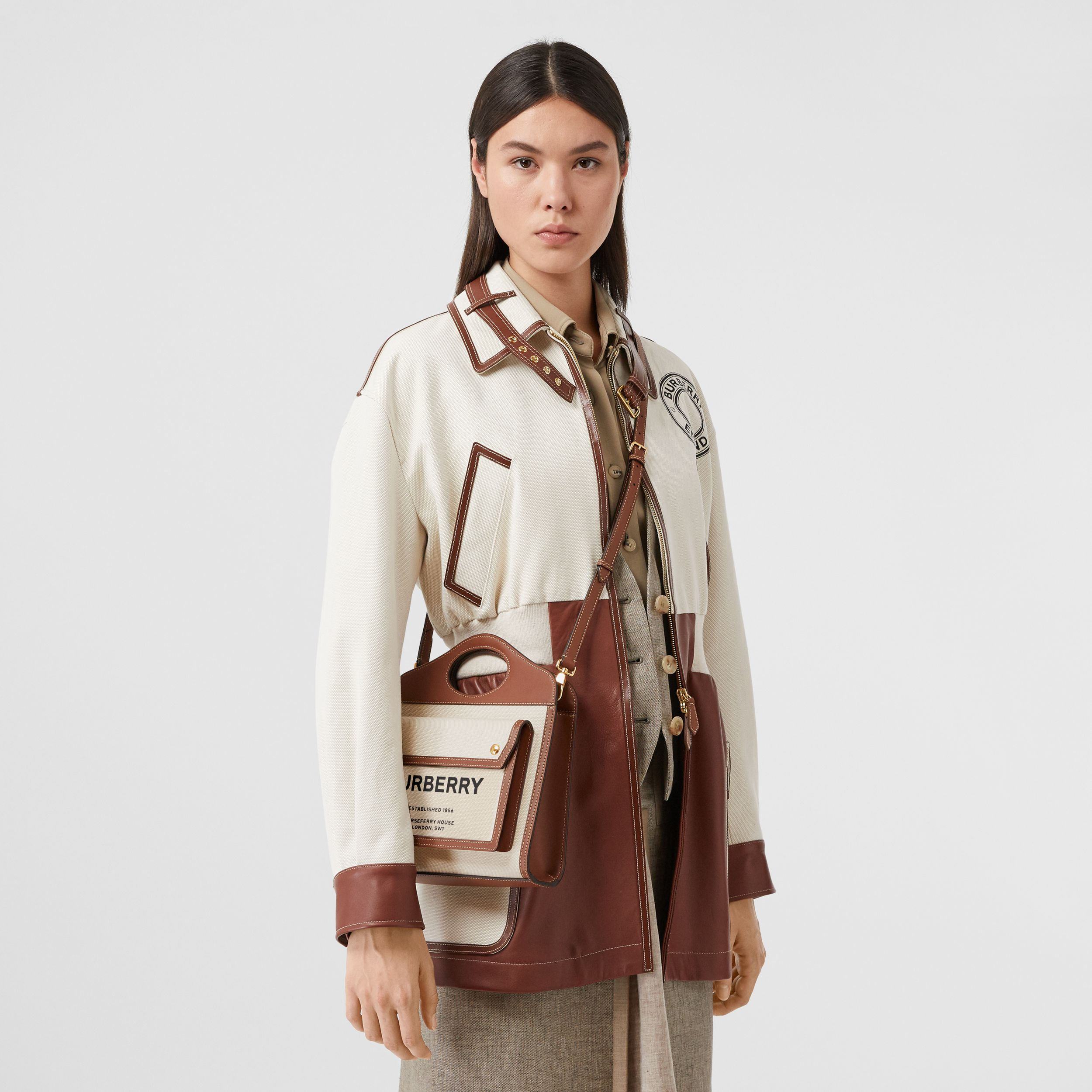 Mini Two-tone Canvas and Leather Pocket Bag in Natural/malt Brown - Women | Burberry - 3