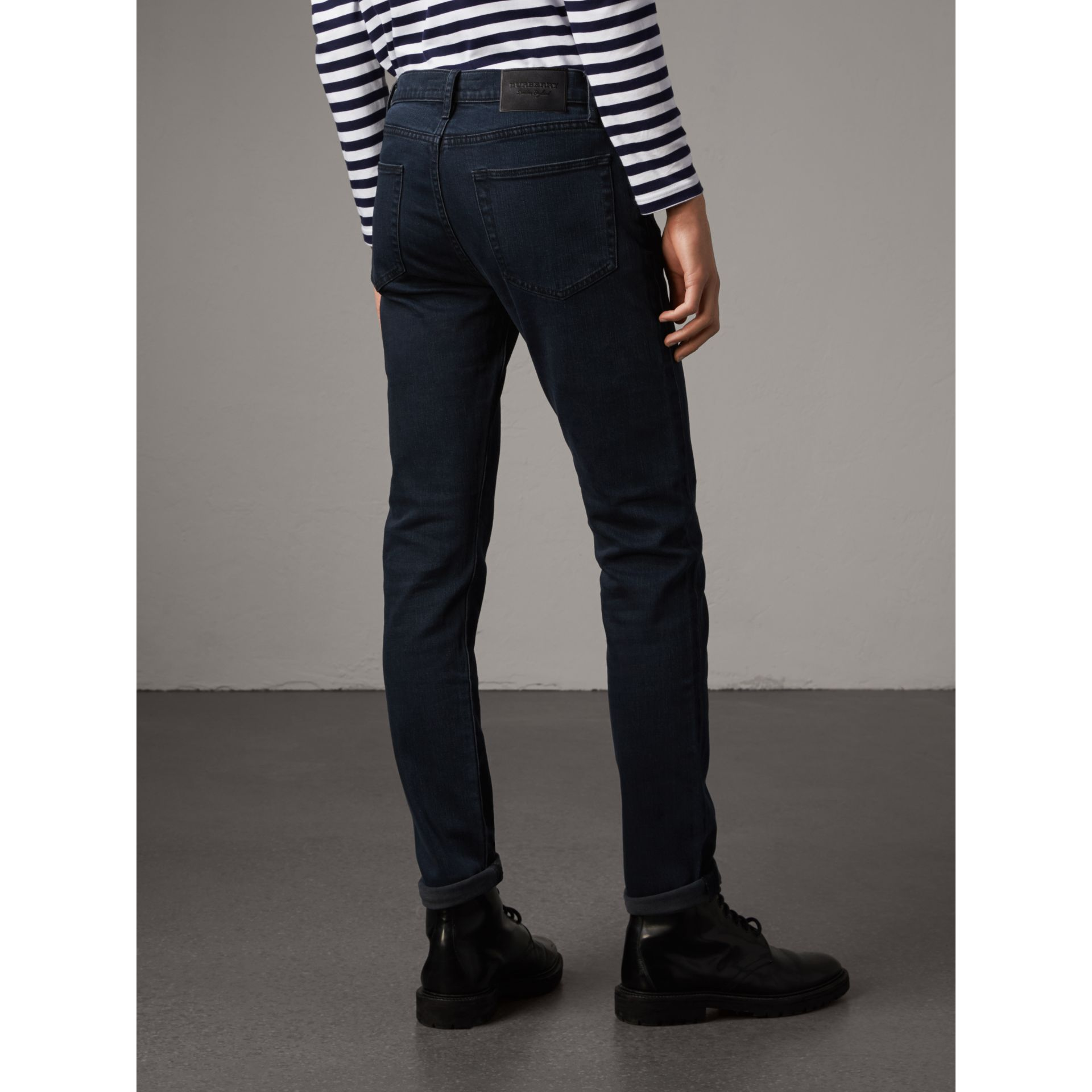 Slim Fit Over-dyed Stretch Jeans in Dark Indigo - Men | Burberry - gallery image 2