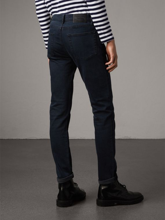 Slim Fit Over-dyed Stretch Jeans in Dark Indigo - Men | Burberry - cell image 2