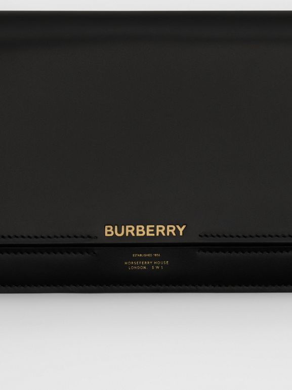 Horseferry Print Leather Bag with Detachable Strap in Black - Women | Burberry - cell image 1