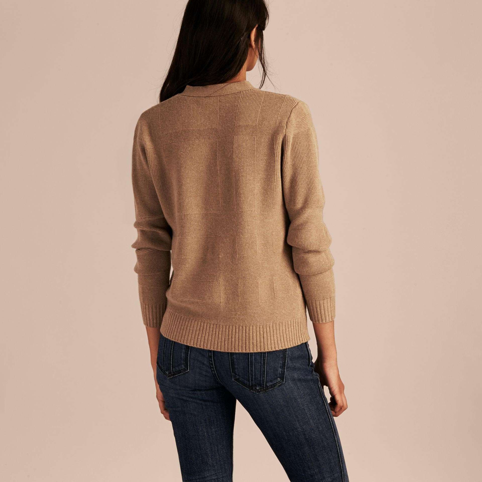 Check-knit Wool Cashmere Cardigan Camel - gallery image 3