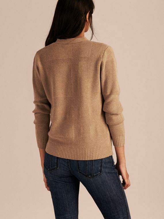 Check-knit Wool Cashmere Cardigan in Camel - cell image 2