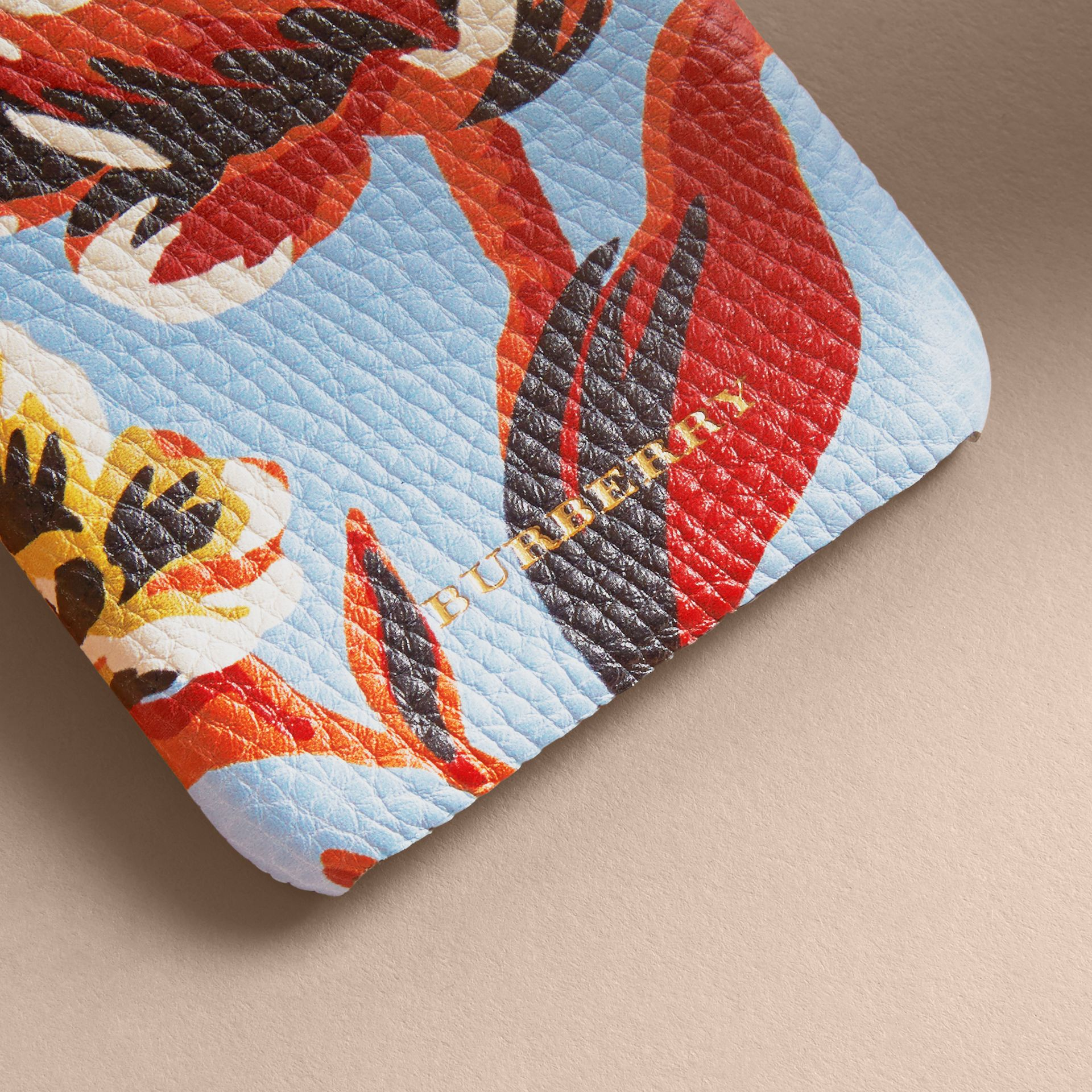 Peony Rose Print Leather iPhone 6 Case in Pale Blue/vibrant Orange | Burberry - gallery image 2
