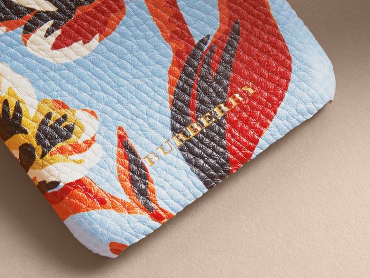 Peony Rose Print Leather iPhone 6 Case in Pale Blue/vibrant Orange | Burberry - cell image 1