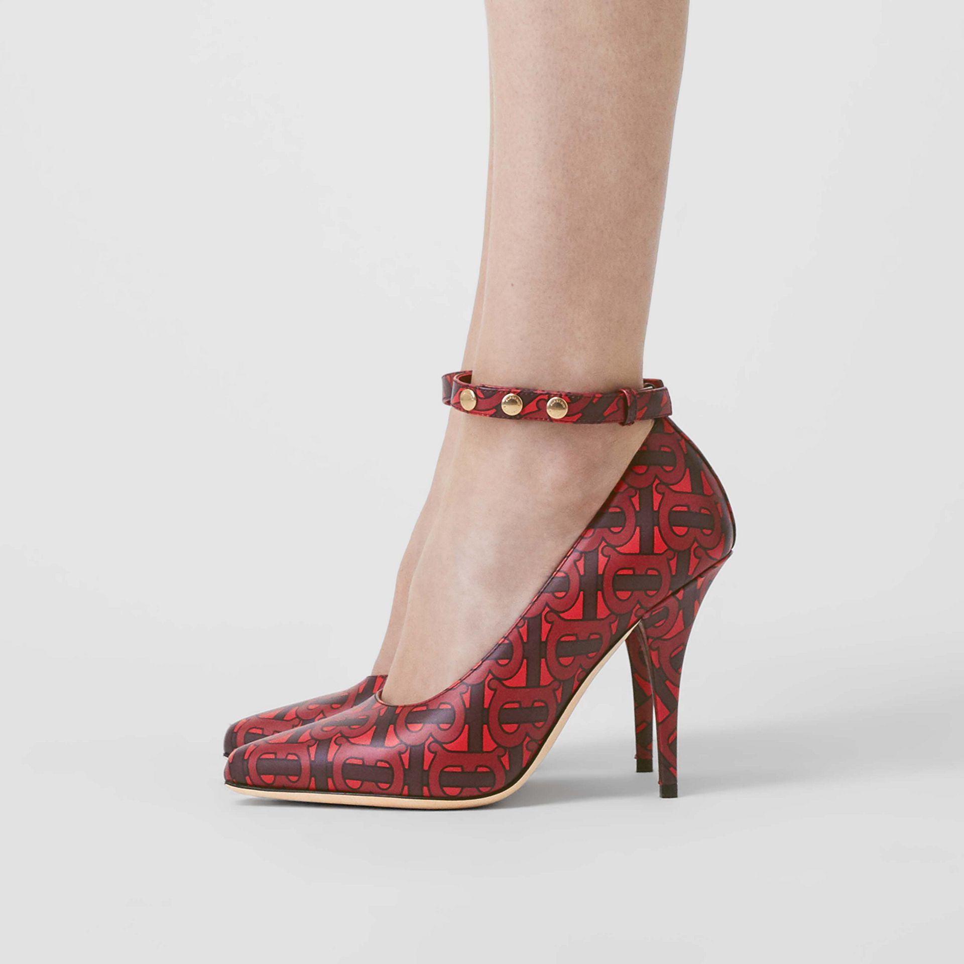 Triple Stud Monogram Print Leather Point-toe Pumps in Crimson - Women | Burberry Australia - gallery image 2