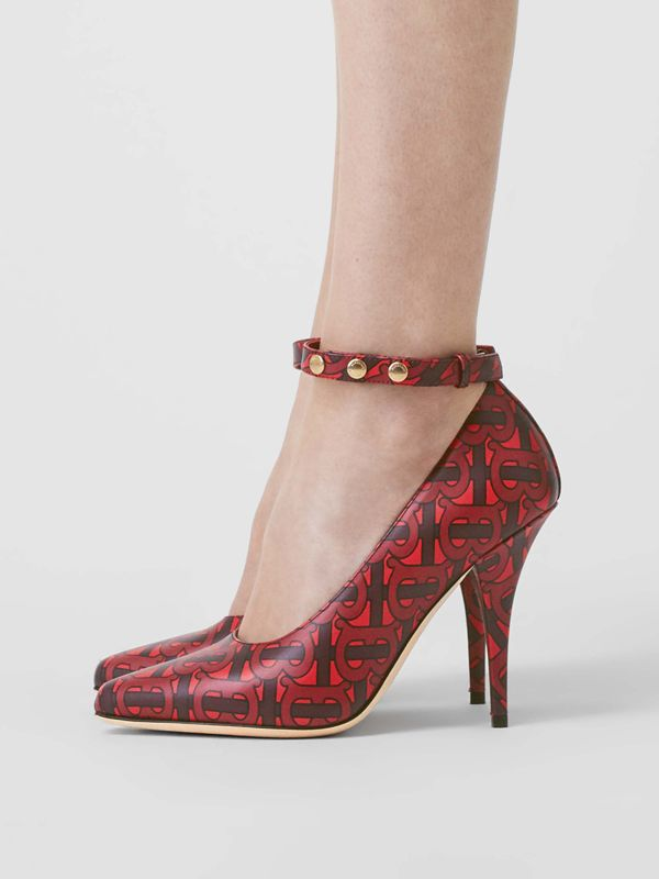 Triple Stud Monogram Print Leather Point-toe Pumps in Crimson - Women | Burberry Australia - cell image 2