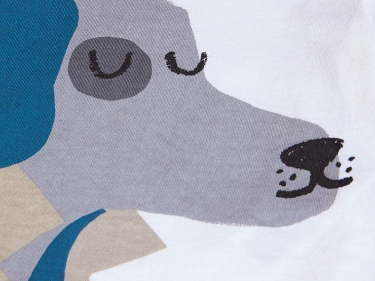 Bianco T-shirt in cotone con cane - cell image 1