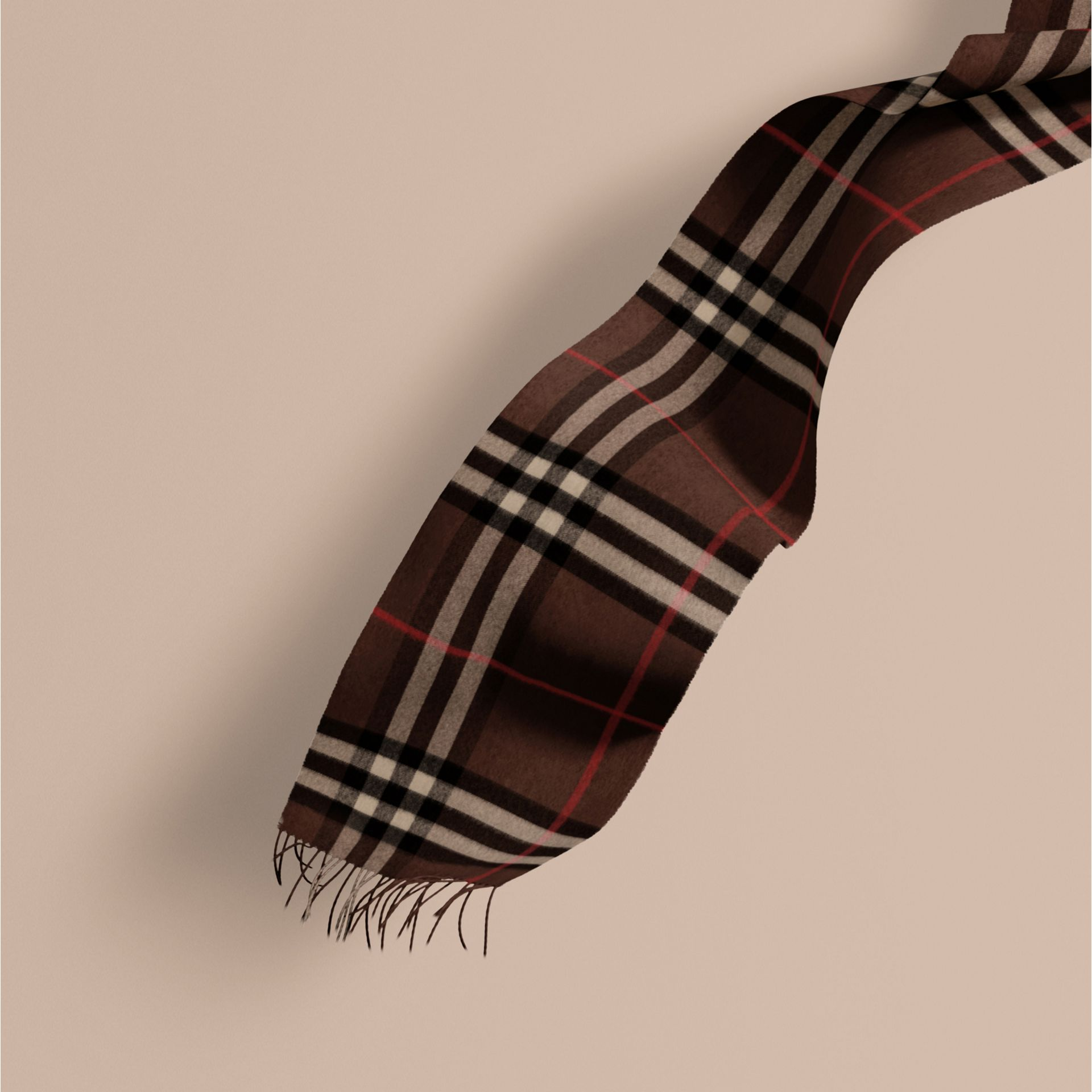 Dark chestnut brown check The Classic Cashmere Scarf in Check Dark Chestnut Brown - gallery image 1