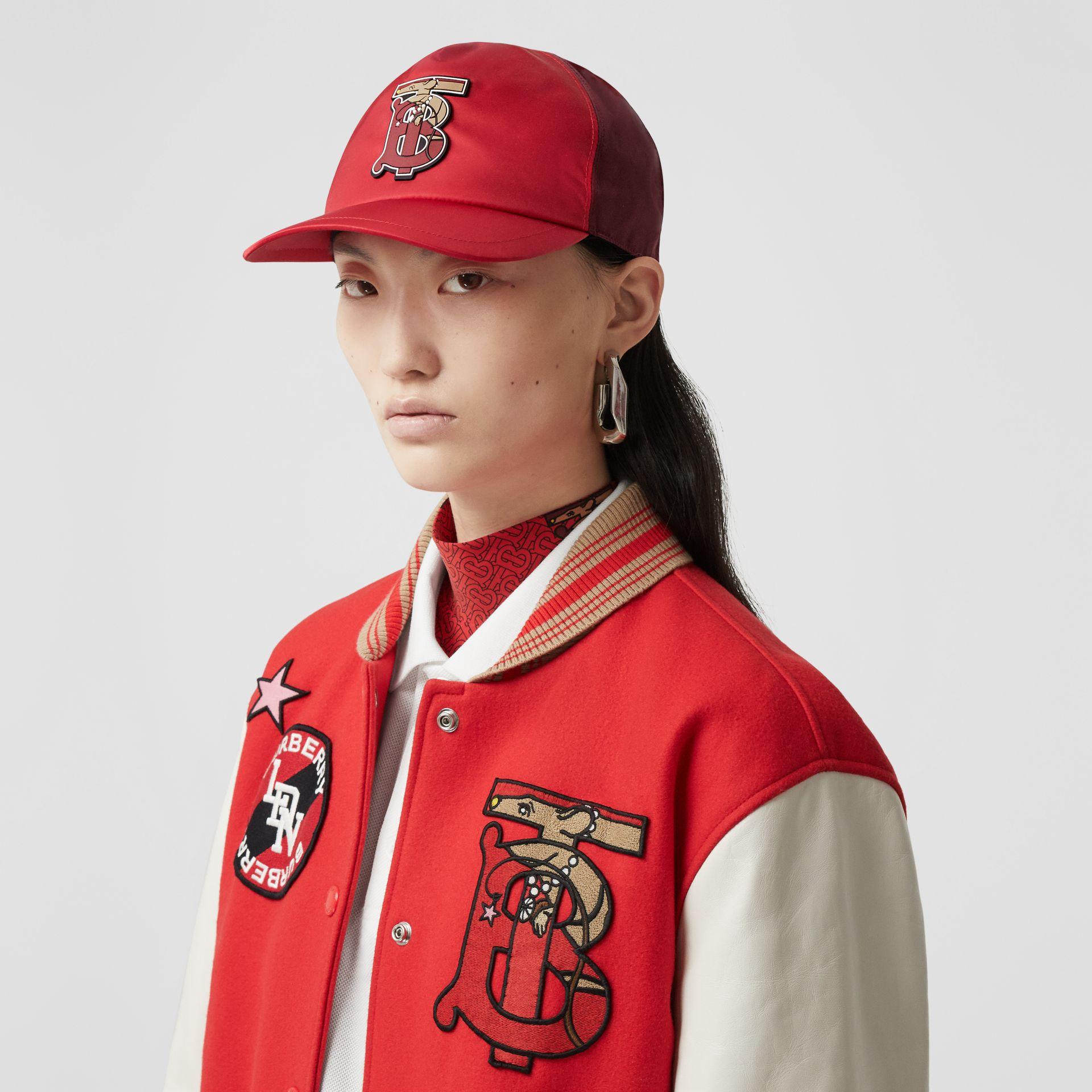 Monogram Motif Two-tone Baseball Cap in Bright Red | Burberry - gallery image 2