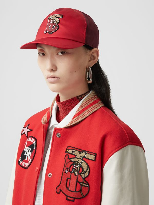 Monogram Motif Two-tone Baseball Cap in Bright Red | Burberry - cell image 2