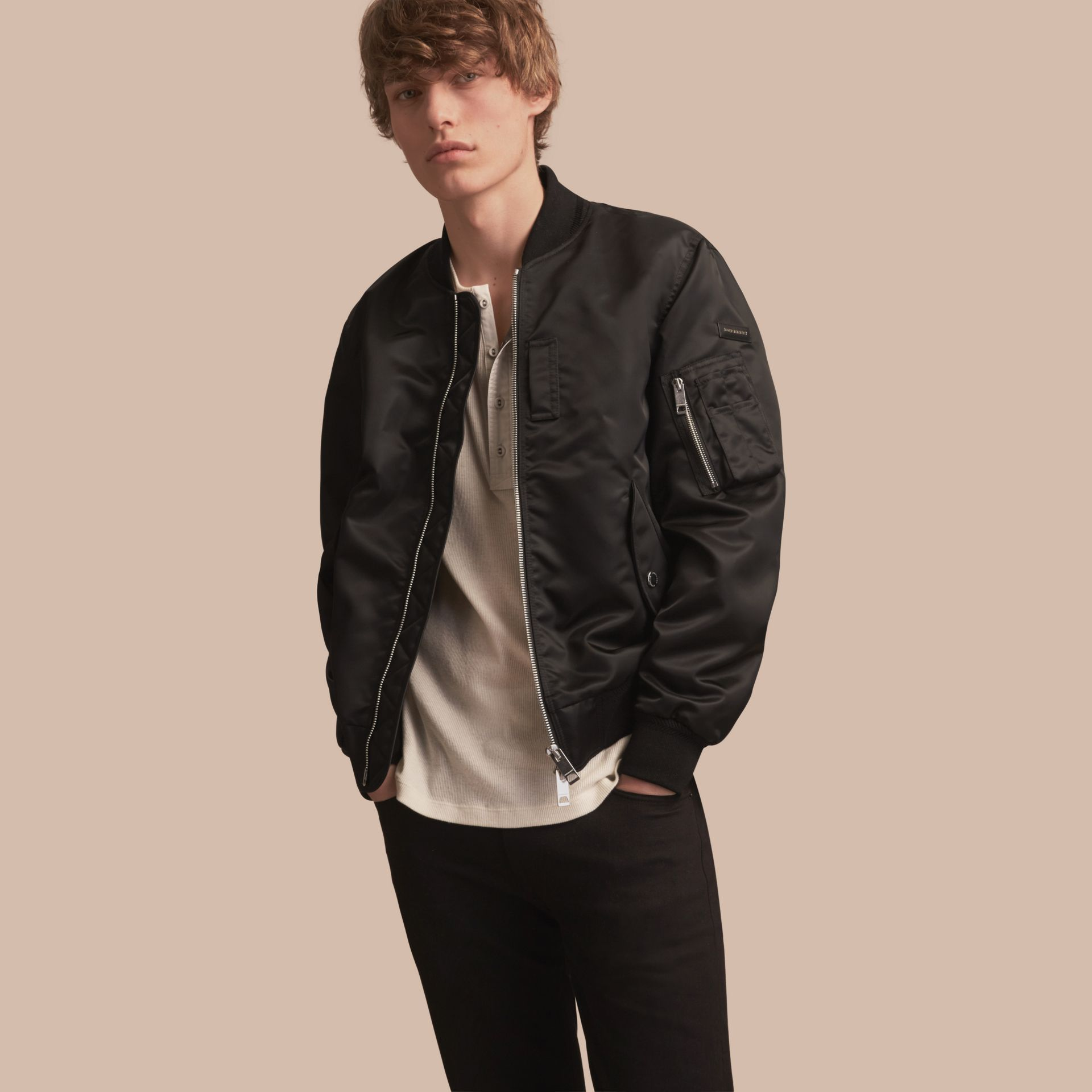 Technical Bomber Jacket Black - gallery image 1