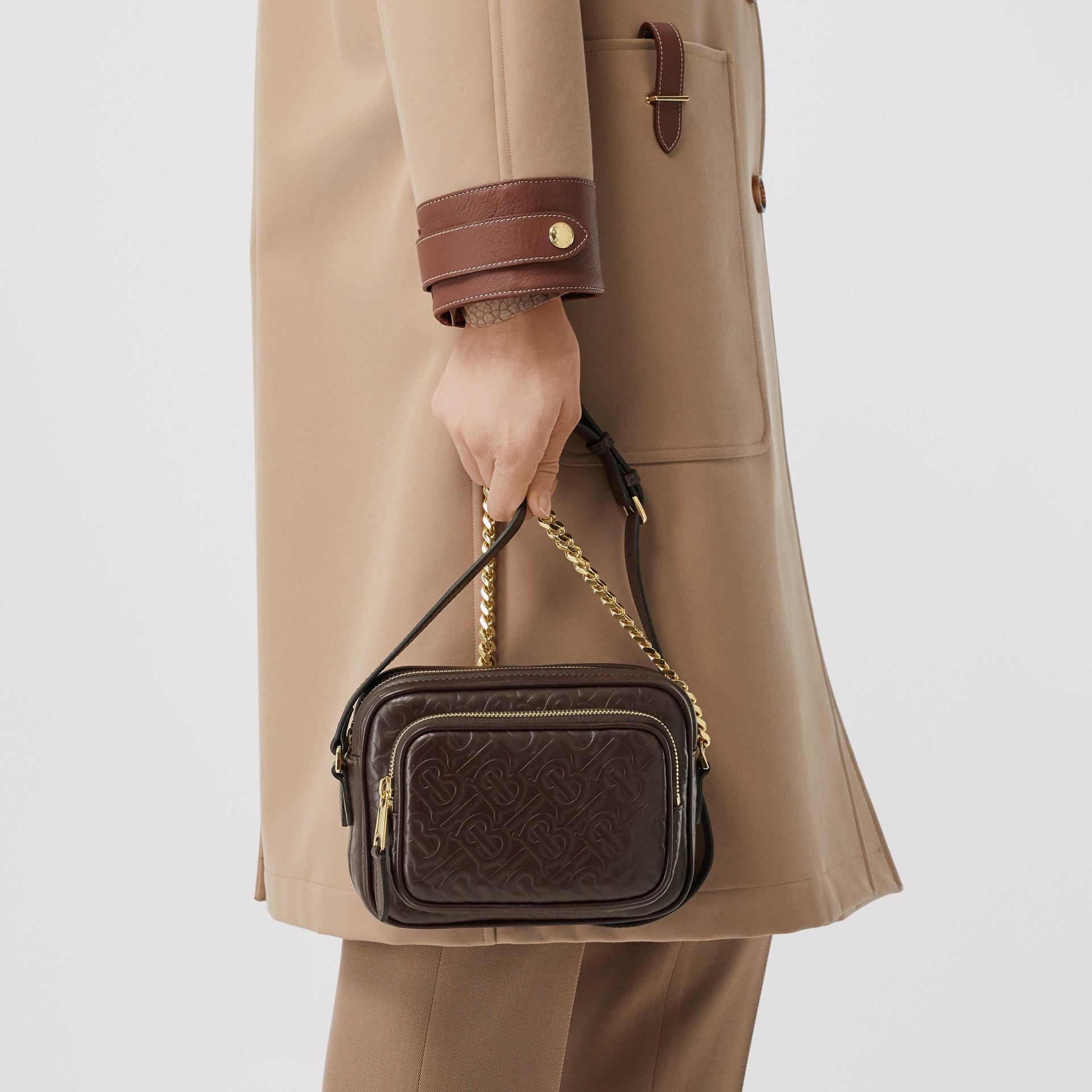 Monogram Leather Camera Bag in Dark Burgundy - Women | Burberry - gallery image 8