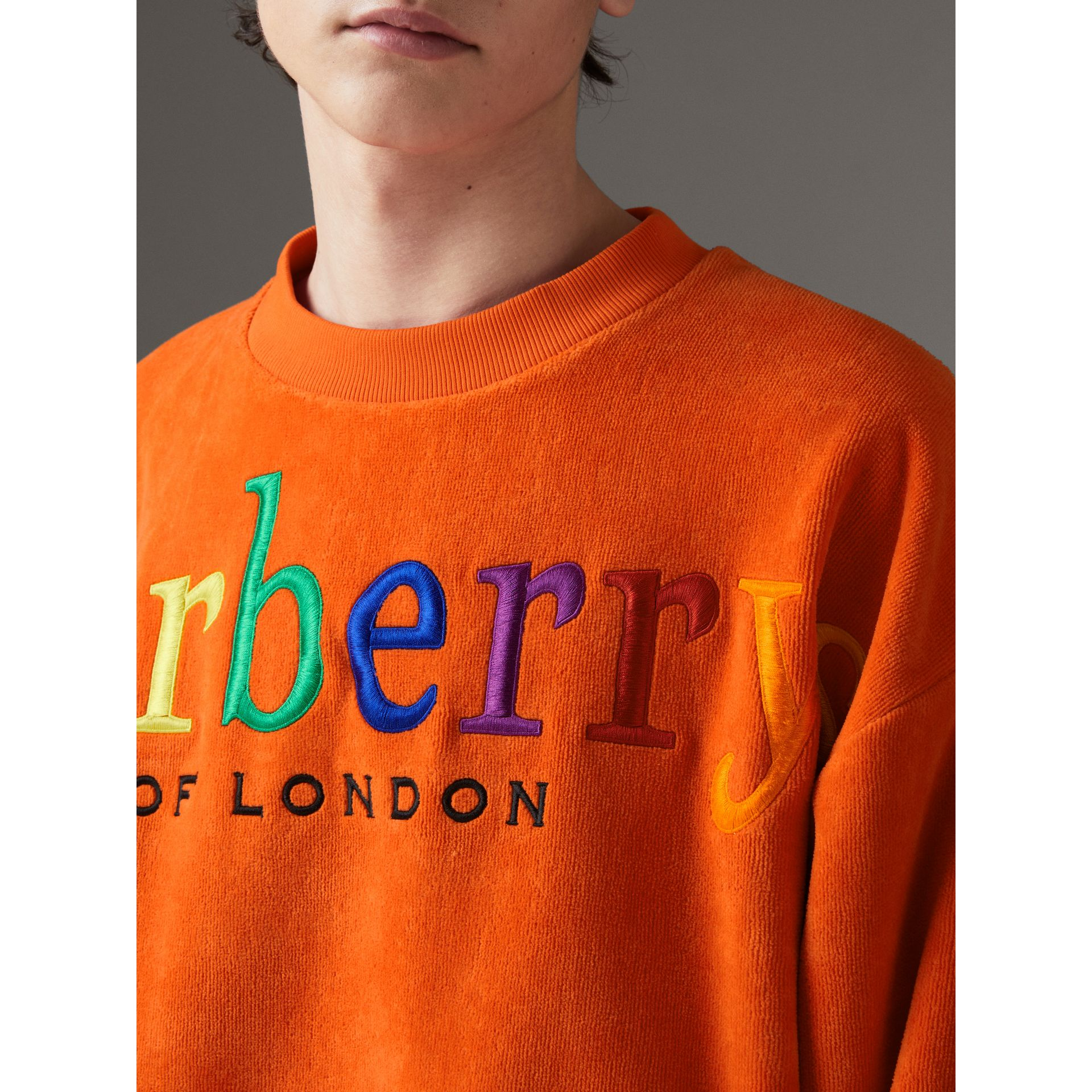Archive Logo Towelling Sweatshirt in Tangerine | Burberry United States - gallery image 1
