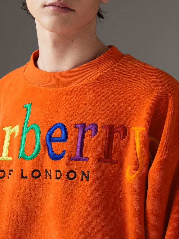 Archive Logo Towelling Sweatshirt in Tangerine | Burberry United Kingdom - cell image 1