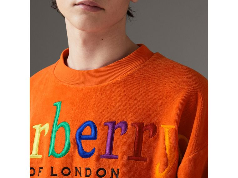Archive Logo Towelling Sweatshirt in Tangerine | Burberry United States - cell image 1