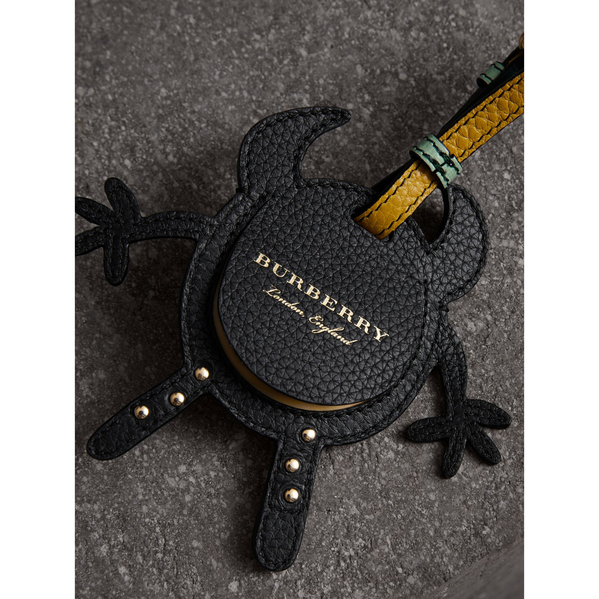 Creature Appliqué Leather Trim Luggage Tag in Light Mint | Burberry - gallery image 3